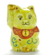九谷焼通販 招き猫 黄色唐草