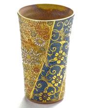 九谷焼通販 おしゃれなビアグラス ビアカップ 青粒 金花詰 正面の図