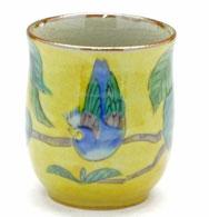 九谷焼通販 おしゃれなお湯呑 湯飲み ゆのみ茶碗 小 濃い塗り花鳥 裏絵