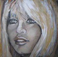 """Brigitte Bardot "" 100x100 Öl aufLeinwand"