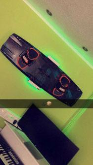 Wandhalterung Wandmontage Wakeboard diagonal horizontal vertikal Halterung wall mount LED Beleuchtung beleuchtet