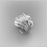 Schmuckring, Wickeloptik, weiblich, Frauen, Silber 925/000, Sterlingsilber, matte Oberfläche, künstlerisch, kreativer Schmuck, phantasievoll, Einzelstück, schwerer Silberring, individuell, emotional,