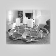 Design, 4 Kerzen Edel, Silberplattierung, silver plated, dekorativer Kerzenständer, variable Dekorationsmöglichkeit