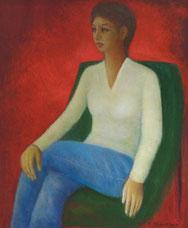 赤い背景と婦人  (油彩・F20)
