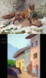 Nr.587 Fuchs mit Hase / Dorfpartie
