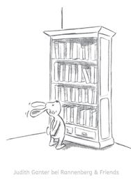 Hase Bücherregal Inhaltsverzeichnis - Illustration aus Entspannt durch den Advent Blöckchen - Judith Ganter - Illustriertes Kopfkino für Alltagsoptimisten - bei Rannenberg & Friends - Geschenkartikel mit Bildern