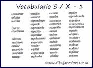 Palabras que empiezan o contienen las letras S/X