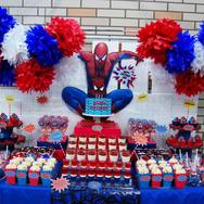 mesa de dulces de spiderman