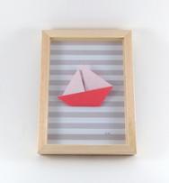 Cadre origami Bateau - Format 15 x 21 cm - 29€