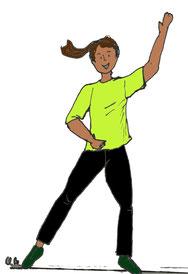 Zeichnung einer Frau, die eine Arm-Bein Übung im Stand macht