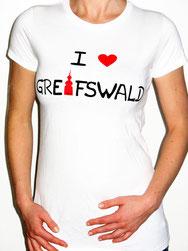 I love Greifswald-Damenshirt, weiß (Annabelle) mit schwarzer Schrift und rotem Herz/Turm.