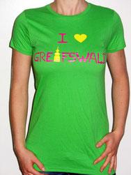 I love Greifswald-Damenshirt, grün (Ronahi) mit pinker Schrift und gelbem Herz/Turm.