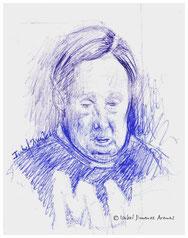 Mujer en una peluquería. Sketch, 7 x 6 cm. 1993.