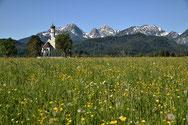 Die Kirche von St. Coloman bei Hohenschwangau. Radreise vom Bodensee zum Königssee