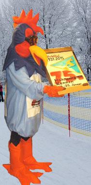 Kostüm Maskottchen Hahnenkamm Kitzbühel