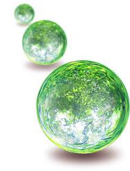 理念をイメージする緑に輝く3つのボール