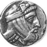 Moneda persa con el rostro de Tisafernes, siglo IV a. C.