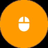 Icono de mouse blanco sobre circulo naranja