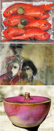 Esther Naef (Bilder), Verena Bischofberger (Bilder), Iris Weiss (Keramik) im Kornhauskeller Frick 2019