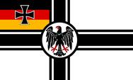 Reichkriegsflagge der Weimarer Republik. Die Flagge wurde 1919 festgelegt, jedoch nie eingeführt. Stattdessen wurde die Reichkriegsflagge der Kaiserzeit (Version in schwarz, weiß, rot) verwendet.