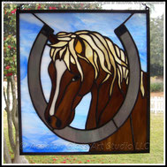 Good Luck Colt with Horseshoe Stained Glass Panel