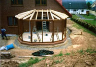 Wintergarten - Aufbau der Konstruktion