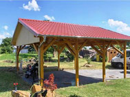 Doppel-Carport, Satteldach mit Dachpfannen aus Stahl