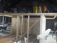 Gartenhaus - Aufbau in der Werkstatt
