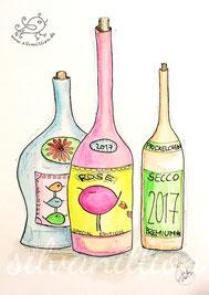 Weinflaschen mit Piepmätzen auf den Etiketten, Illustration von silvanillion