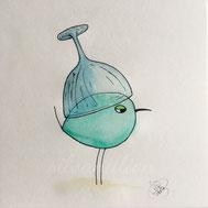 Piepmatz mit Weinglas auf dem Kopf, Illustration von silvanillion