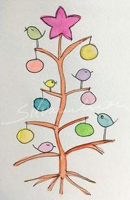 Weihnachtlich geschmückter Baum mit Piepmätzen, Illustration von silvanillion