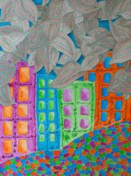Bunte Häuser, Acrylbild silvanillion
