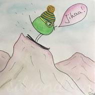 Piepmatz beim Skifahren, Illustration von silvanillion