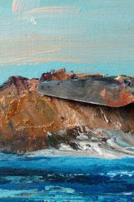 Meer, acrylbild, klippe mit Ocker und spachtel malen