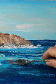 Meer und Klippe malen, Wellen