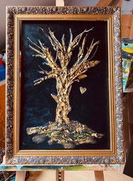 Bild Baum gold schwarz Herz Hochformat