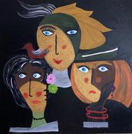 Bild Gesichter Acryl Mechthilde Gairing