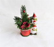 Weihnachtsgesteck mit 3 Schneemänner