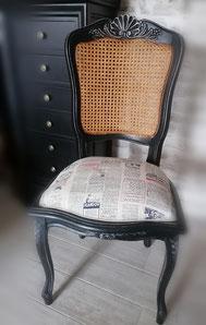 relooking de meuble le mans sarthe chaise louis tissu patiné le perche