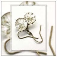 Wilma ° The Wild Flower ° - Wilde Möhre Ohrringe Zauberhafte Handgemachte Blütenkette mit der Blüte einer Wilden Möhre.     * Designed and Manufactured by Elfgard® Germany