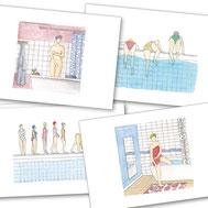 baigneuse, CE, maillot de bain, piscine, nager, boutique, baignade, bonnet bain, eau, groupe, filles, natation, nager, plonger, plongeon, nage, dorothée, piatek, lunette piscine, corps, rondeur, minceur, aquarelle, idée cadeau, cadeau, offrir, cadre, deco