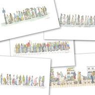 file d'attente, concert, mariage, course, supermarché, taxi, attendre, patienter, femme, homme, enfant, carnaval, noce, famille, amis, inconnu, caddie, grille, aquarelle, miniature
