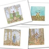 automne, saison, feuille, banc, foret, arbre, nature, vélo, sortir, promenade, balade, 4 saisons, été, hiver, printemps, vie, nature, aquarelle, miniature,