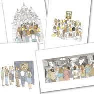 Musée, Picasso, Joconde, Sacré-coeur, marche, Montmartre, Guernica, exposition, expo, visite, file d'attente, queue, paris, tableau, pictural,  Courbet, origine du monde, cadre, aquarelle, miniature,