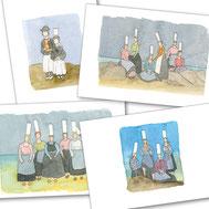 bigouden, Pays Bigouden, CE, cadeau d'entreprise, cadeau, noel, plaisir d'offrir, bretagne, breton, mer, coiffe, bretonne,  bigoudin, costume breton, aquarelle, miniature, fait main, boutique, dorothée, piatek