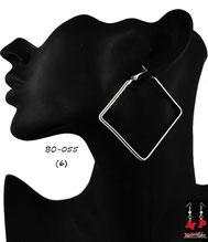 Boucles d'oreilles anneaux carrés argentés