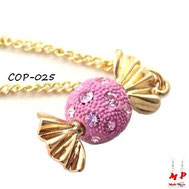 Collier à pendentif bonbon rose et doré avec strass