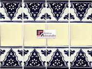 Cenefa en Azulejo Talavera modelo Sierra con Liso Blanco Mexicano en 10.5 x 10.5 cm, ideal para baños y cocinas mexicanas lo encuentras en Rústicos Artesanales visítanos en nuestra web www.rusticosartesanales.com
