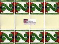 Cenefa en Azulejo Talavera modelo Chilena en fondo Blanco Mexicano con Liso Blanco Mexicano en 10.5 x 10.5 cm, ideal para baños y cocinas mexicanas lo encuentras en Rústicos Artesanales visítanos en nuestra web www.rusticosartesanales.com