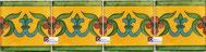 Cenefa Azulejo Talavera modelo Guía Especial Mostaza en 10.5 x 10.5 cm, ideal para baños y cocinas mexicanas lo encuentras en Rústicos Artesanales visítanos en nuestra web www.rusticosartesanales.com